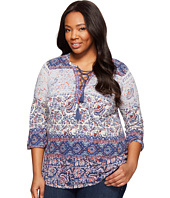 Lucky Brand - Plus Size Lace-Up Peasant Top