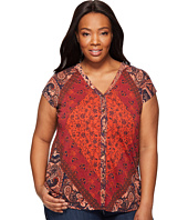 Lucky Brand - Plus Size Printed Button Front Top
