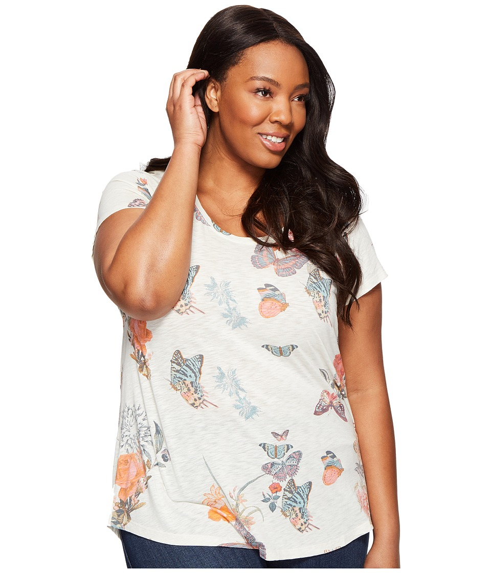 Lucky Brand Plus Size Crazy Butterfly Tee (Natural Multi) Women