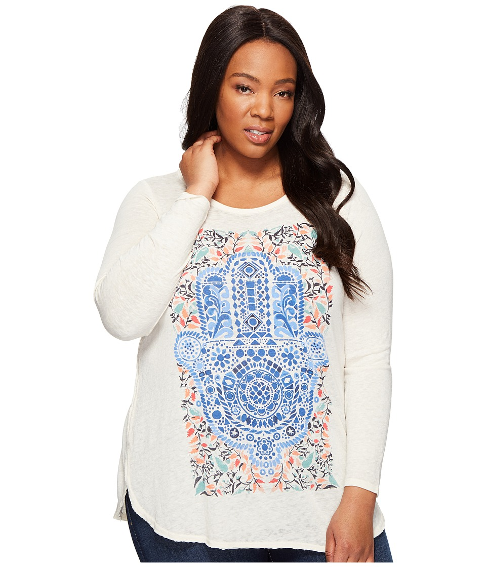 Lucky Brand Plus Size Watercolor Hamsa Hand Tee (White Cap Grey) Women