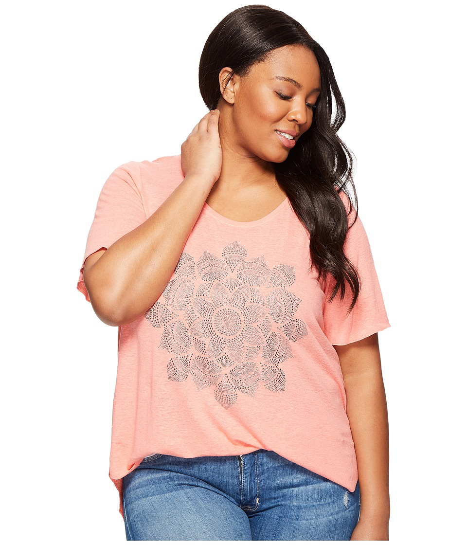 Lucky Brand Plus Size Studded Lotus Tee (Shell Pink) Women