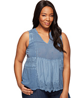 Lucky Brand - Plus Size Washed Woven Mixed Shell