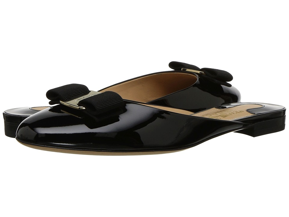Salvatore Ferragamo Suede/Patent Leather Mule (Nero Patent) Women