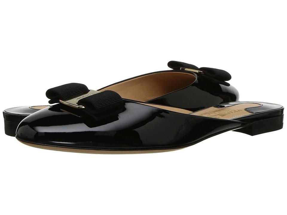 Salvatore Ferragamo Suede/Patent Leather Mule (Nero Patent) Women