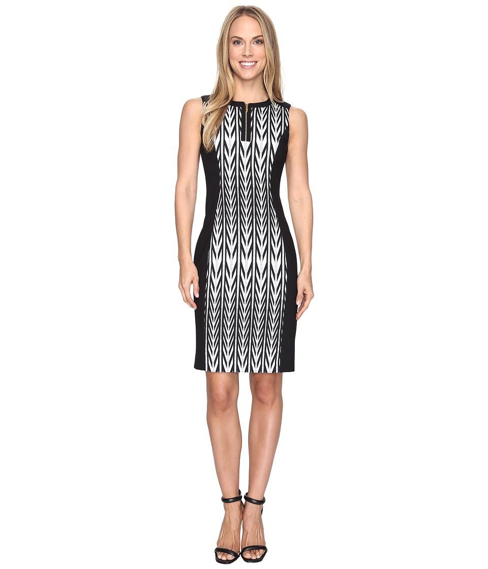 Calvin Klein 1/2 Zip Jacquard Sheath Dress (Black Combo) Women