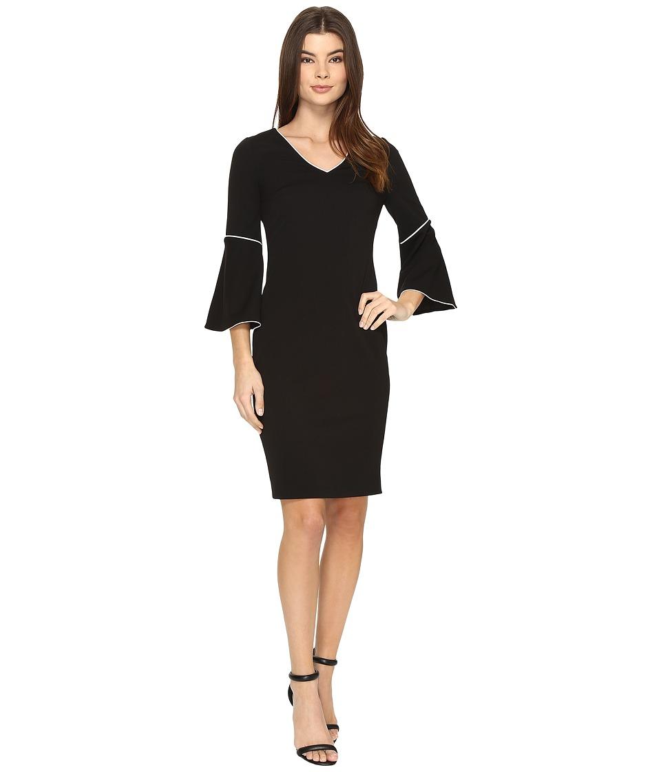 Calvin Klein Bell Sleeve Sheath Dress (Black) Women