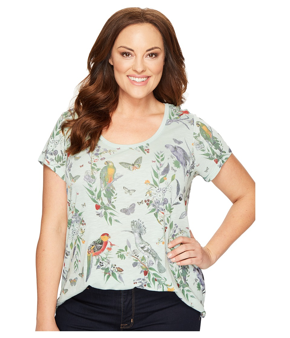Lucky Brand Plus Size Crazy Parrot Tee (Mint Multi) Women