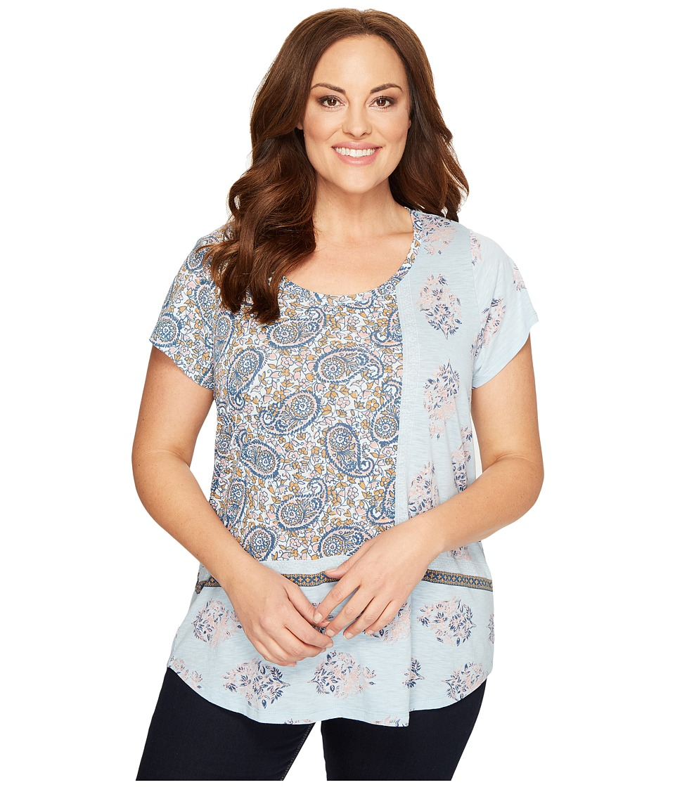 Lucky Brand Plus Size Paisley Mixed Tee (Celestial Blue) Women