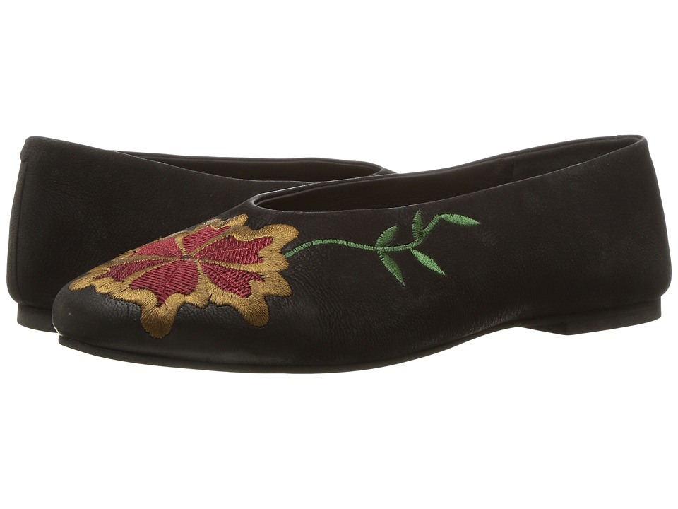 Retro Vintage Flats and Low Heel Shoes Seychelles - Campfire Black Multi Embroidery Womens Flat Shoes $100.00 AT vintagedancer.com