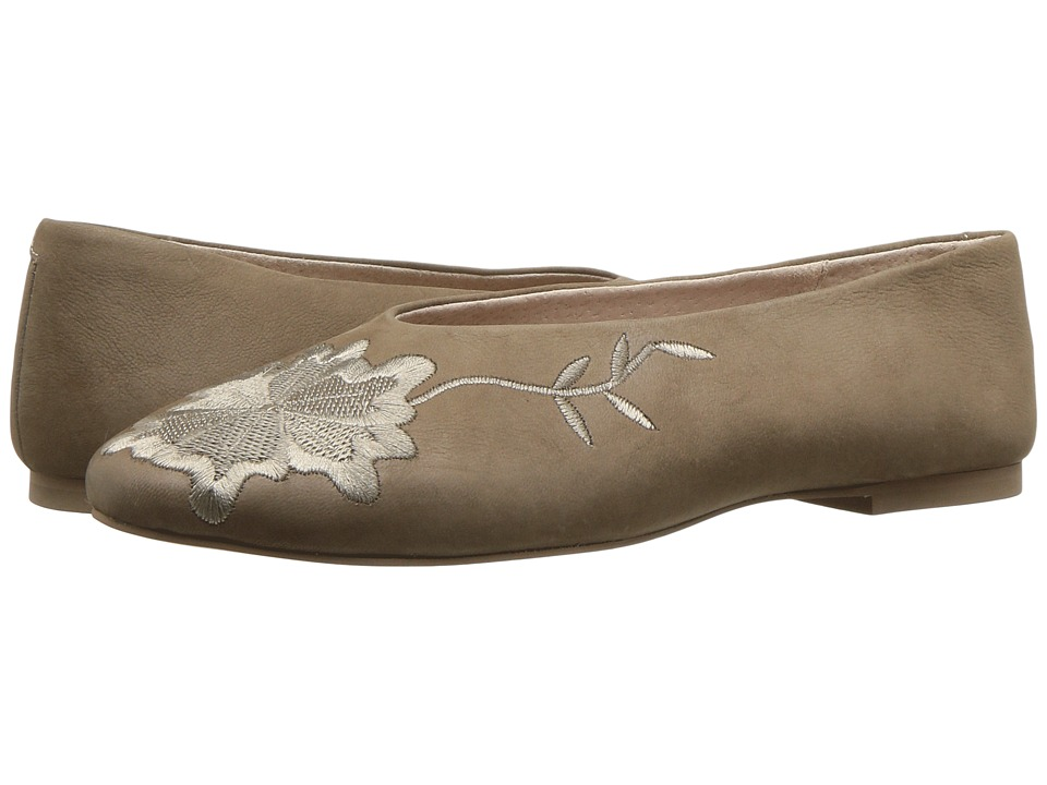 Retro Vintage Flats and Low Heel Shoes Seychelles - Campfire Taupe Self Embroidery Womens Flat Shoes $100.00 AT vintagedancer.com