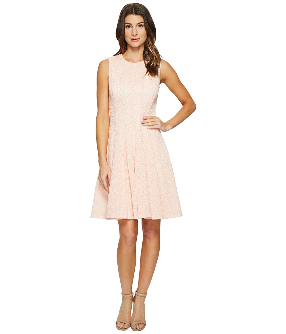 Calvin Klein Laser Cut Flare Dress (Nectar) Women
