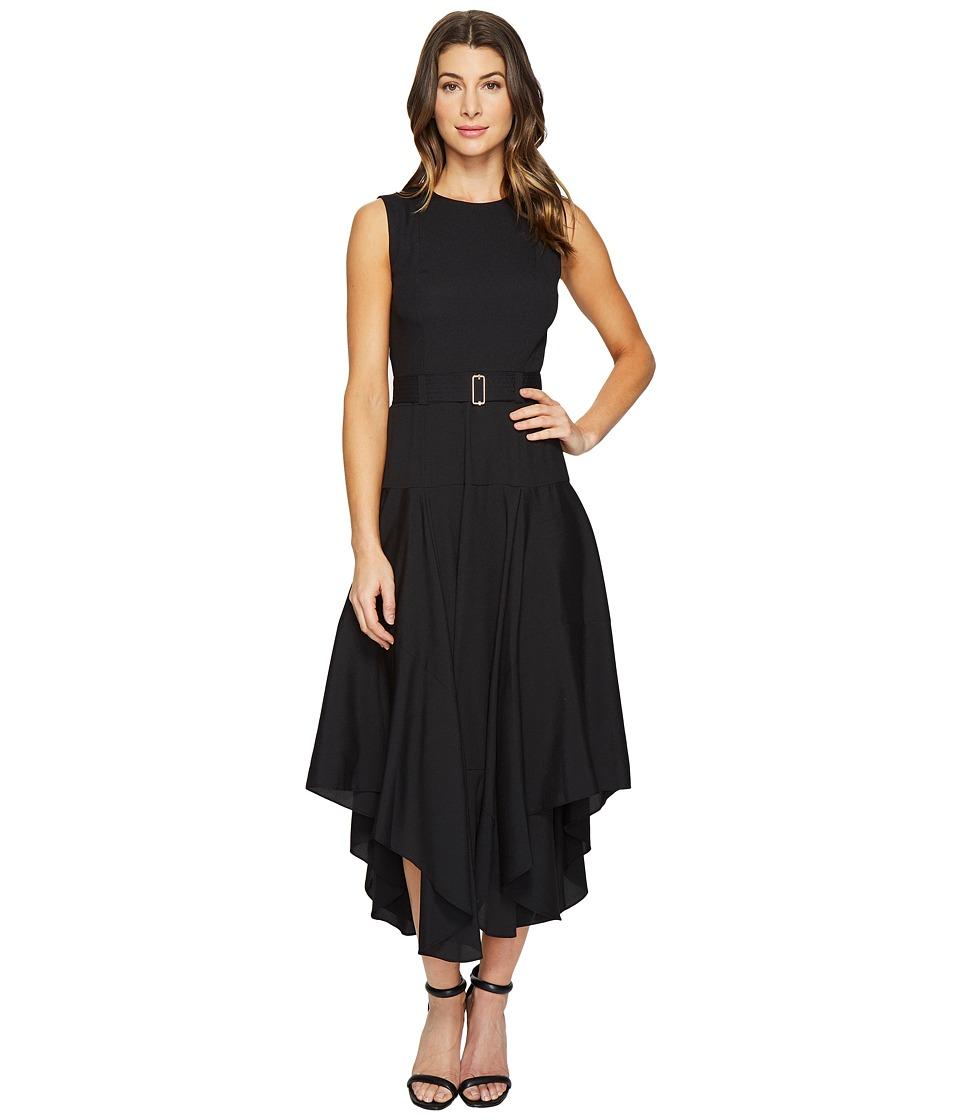 Calvin Klein Belted Handkerchief Dress (Black) Women