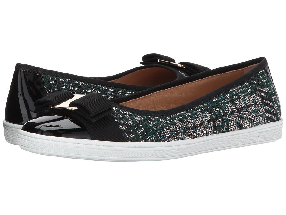 Salvatore Ferragamo Nappa Leather/Tweed Sneaker (Cypress Tree Tessuto Twee) Women