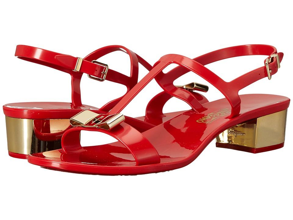 Salvatore Ferragamo - PVC Thong with Heel (Lipstick Sandalo PVC) Womens Sandals