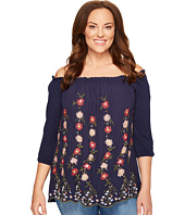 Lucky Brand - Plus Size Embroidered Off Shoulder Top