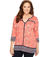 Lucky Brand - Plus Size Floral Border Top