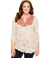 Lucky Brand - Plus Size Embriodered Bib Top