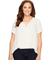 Lucky Brand - Plus Size Dobby Lace-Up Top