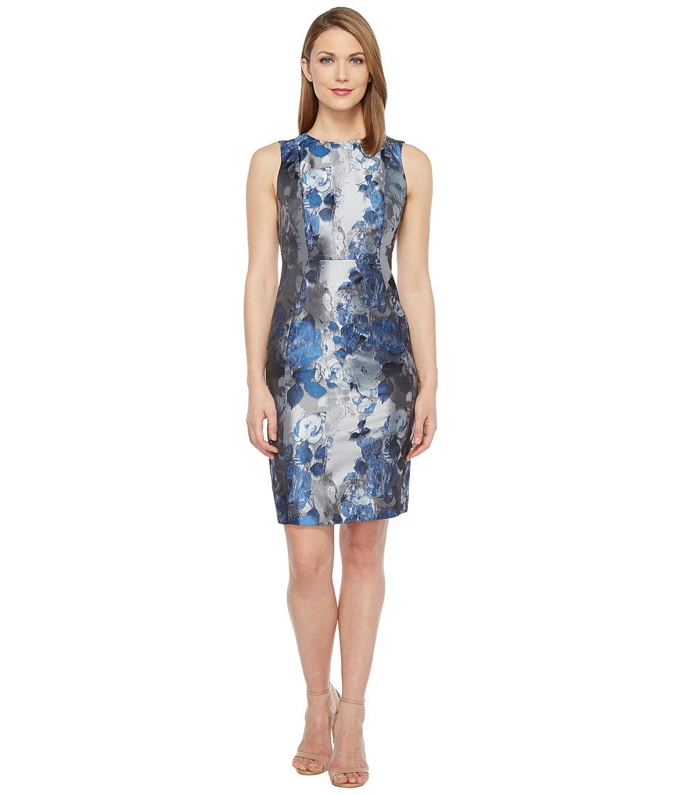 Calvin Klein Brocade Sheath Dress (Iceberg/Black) Women