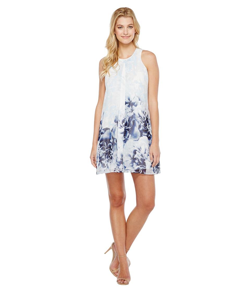 Calvin Klein Printed Inverted Pleat Dress (Twilight/Light Grey) Women