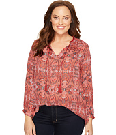 Lucky Brand - Plus Size Paisley Fringe Neck Blouse