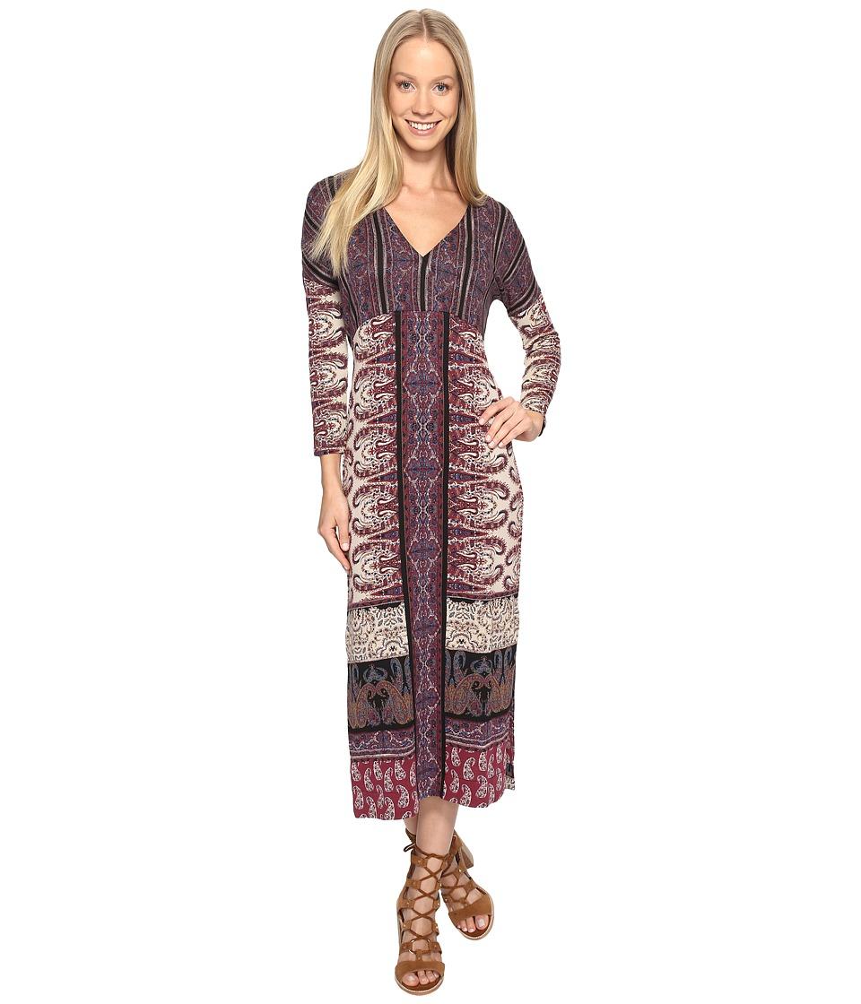 Lucky Brand Knit Maxi Dress (Burgundy Multi) Women
