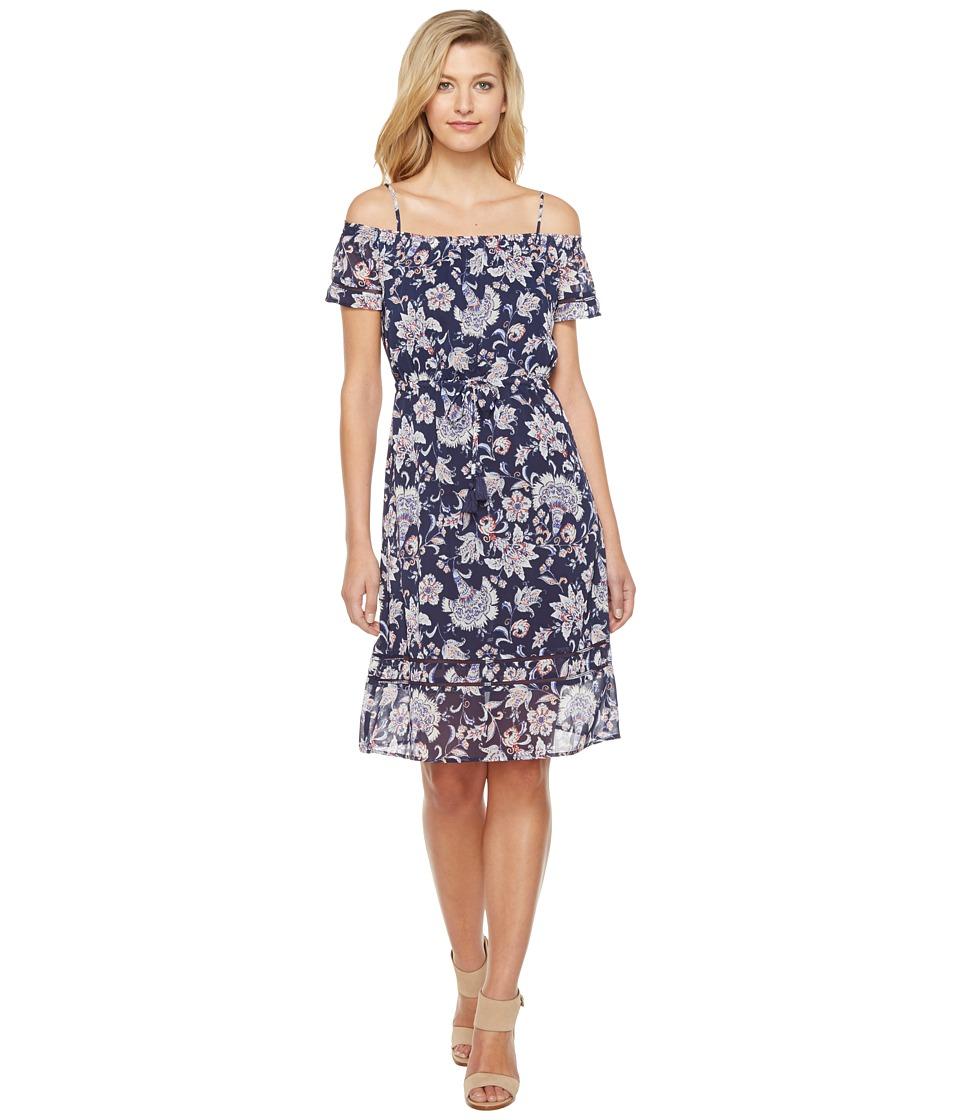 Lucky Brand Cold Shoulder Dress (Navy Multi) Women