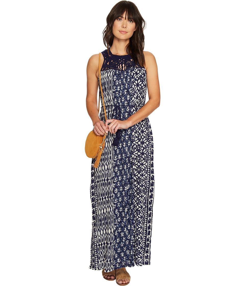 Lucky Brand Macrame Yoke Dress (Blue Multi) Women