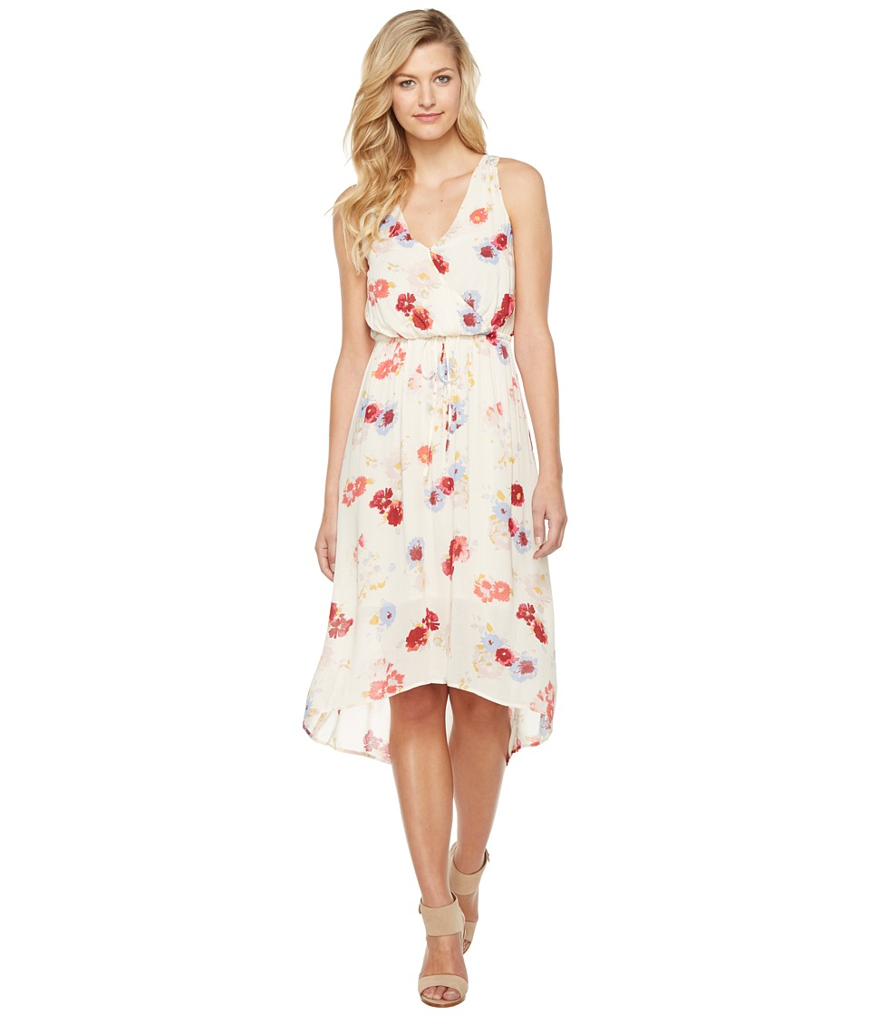 Lucky Brand Painted Floral Maxi Dress (Natural Multi) Women