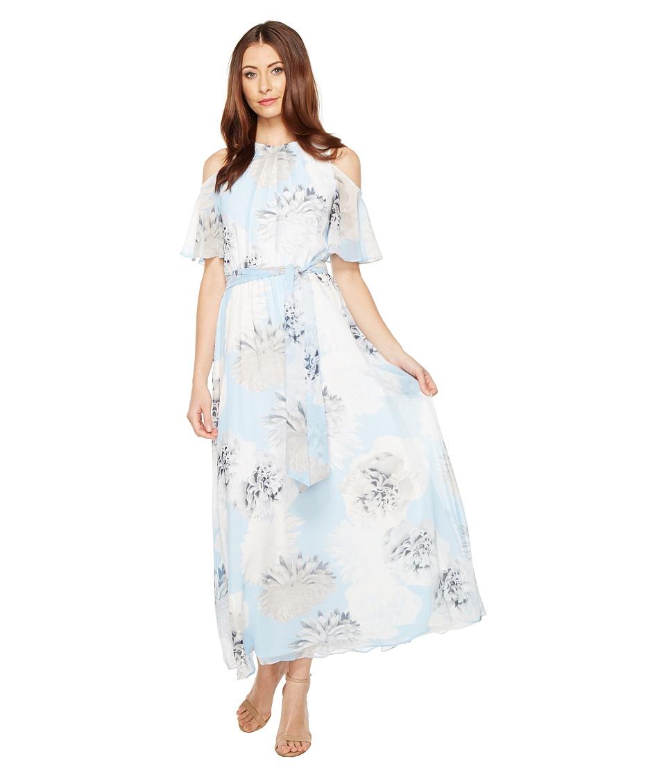 Calvin Klein Printed Maxi with Cold Shoulder Flutter Sleeve Dress (Iceberg Multi) Women