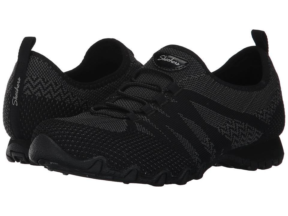 SKECHERS - Bikers - Engineered Knit Bungee Sneaker (Black) Womens Shoes