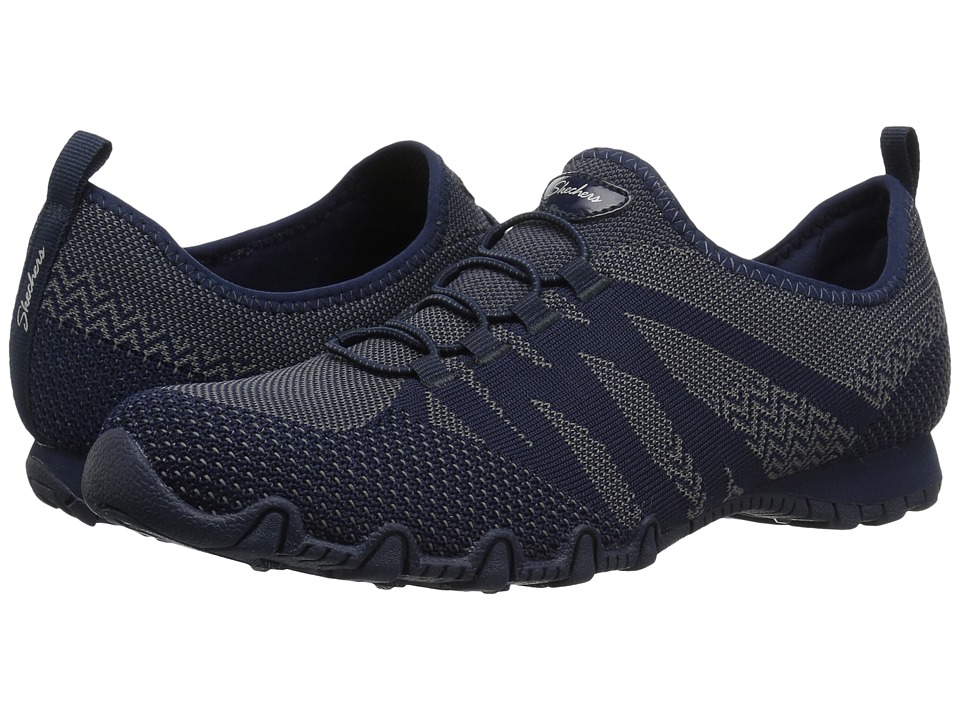 SKECHERS Bikers Engineered Knit Bungee Sneaker (Navy) Women