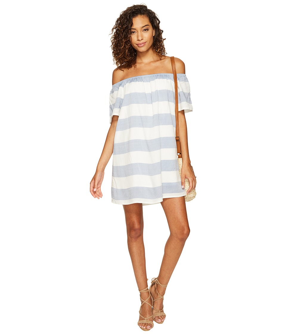 BB Dakota Kash Striped Off the Shoulder Dress (Ivory) Women
