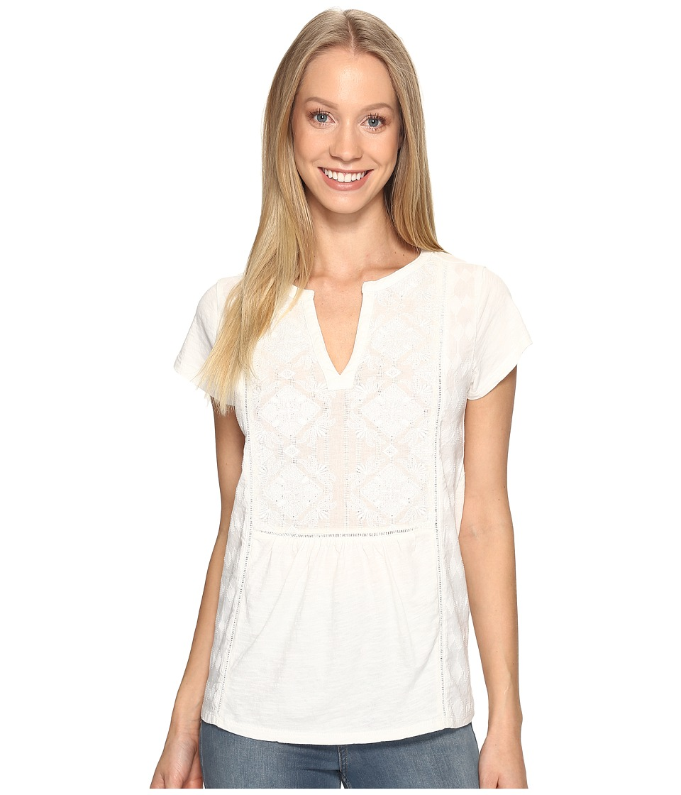 Lucky Brand Embroidered Tee (Marshmallow) Women