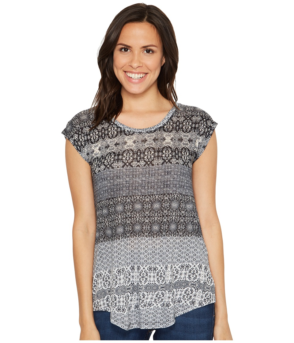Lucky Brand Ditzy Floral Stripe Tee (Marshmallow) Women