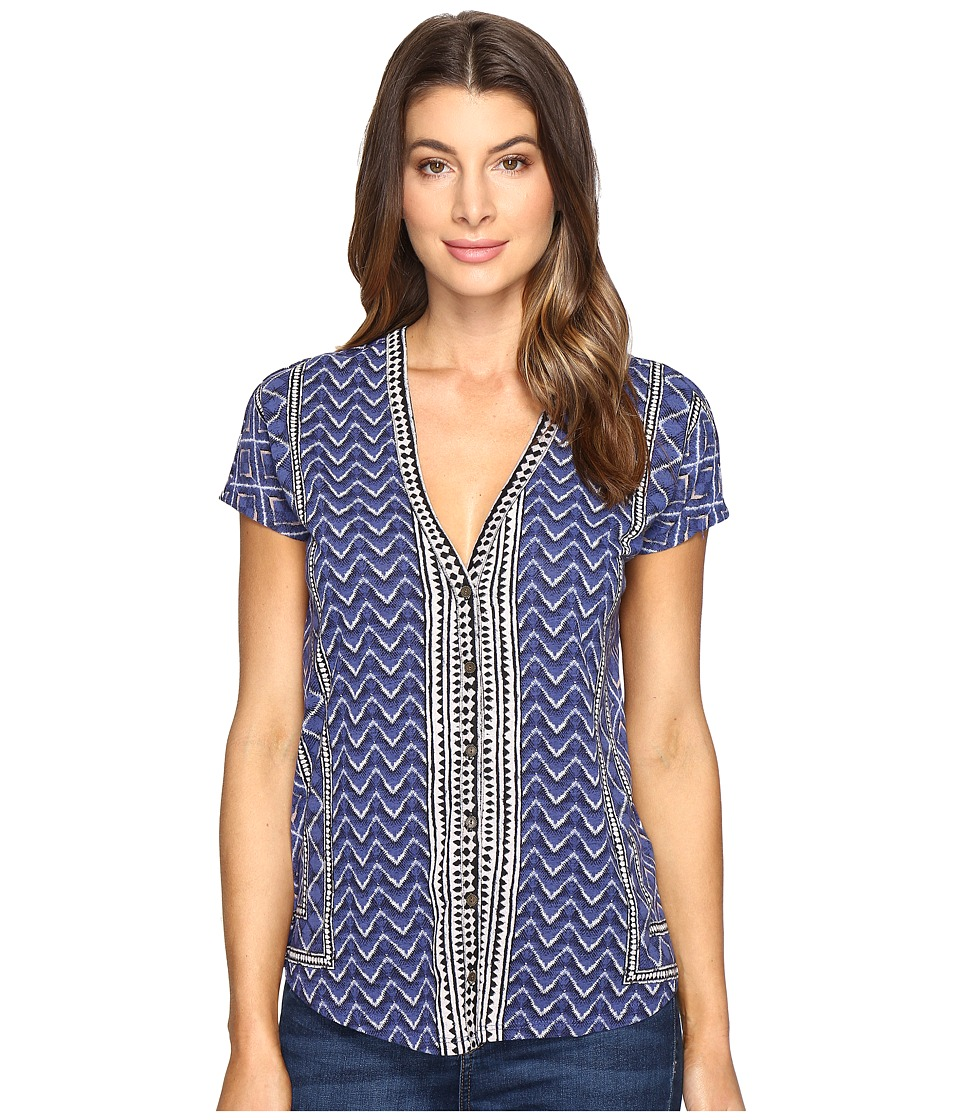 Lucky Brand Printed Button Front Tee (Blue Multi) Women