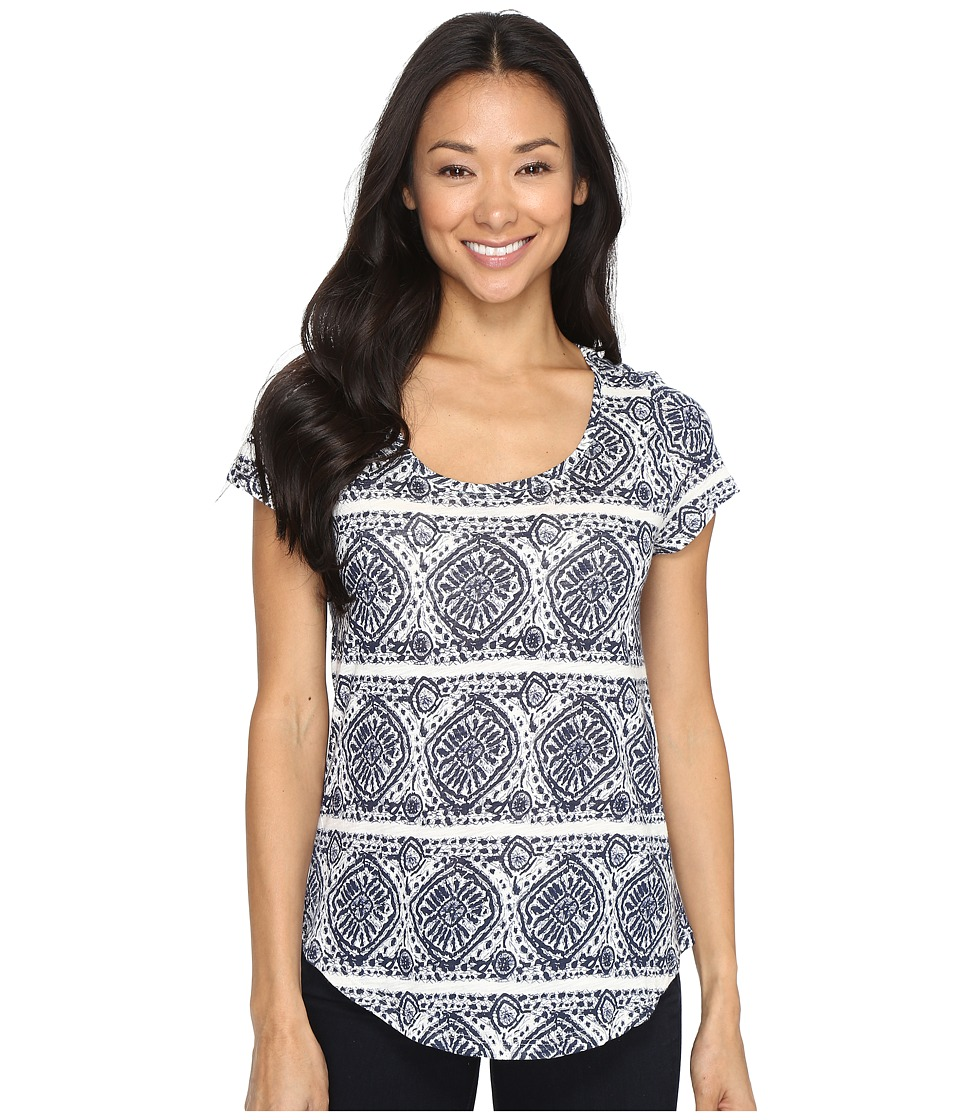 Lucky Brand Geo Striped Tee (Blue Multi) Women