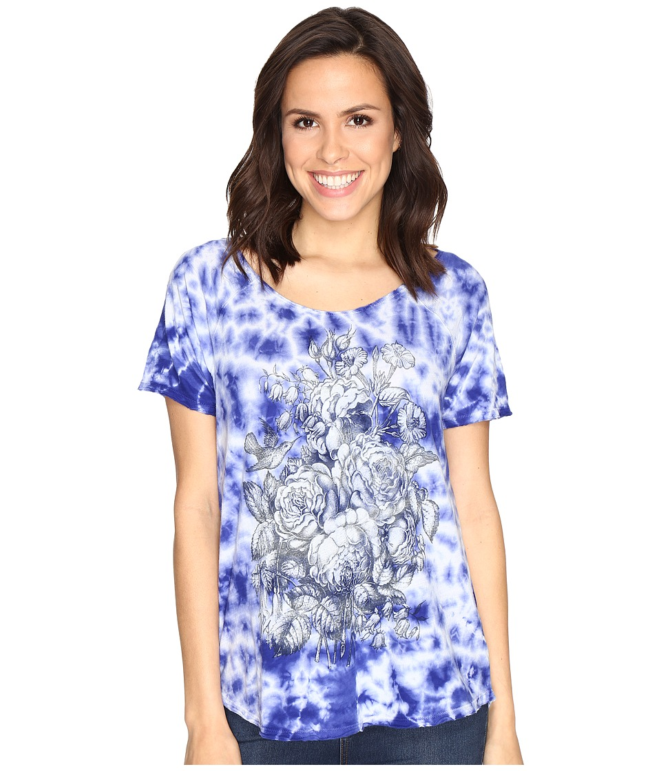 Lucky Brand Floral Washed Tee (Royal Blue) Women