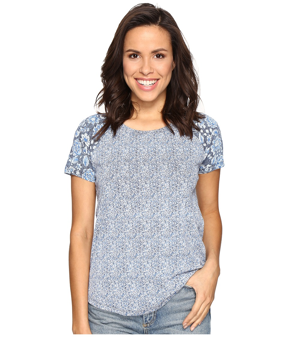 Lucky Brand Floral Mixed Tee (Blue Multi) Women