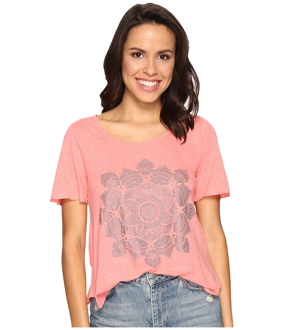 Lucky Brand Studded Lotus Tee (Shell Pink) Women
