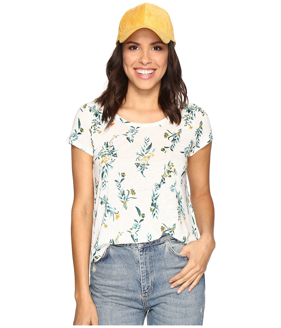 Lucky Brand Floral Vines Tee (Marshmallow) Women