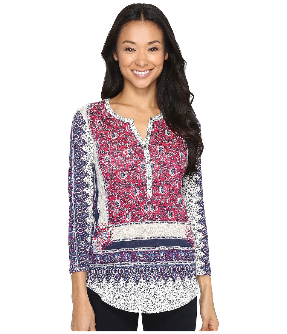 Lucky Brand Border Floral Henley (Pink Multi) Women
