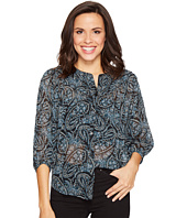 Lucky Brand - Black Paisley Peasant Top