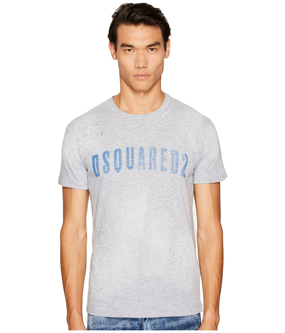 DSQUARED2 Clothes Line Wash T-Shirt (Grey Melange/Blue) Men