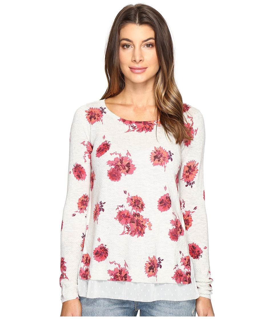 Lucky Brand Open Floral Pullover Sweater (Grey Multi) Women