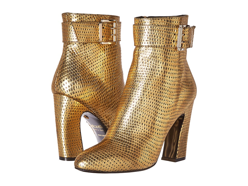 Just Cavalli Python Leather Ankle Boot (Gold) Women