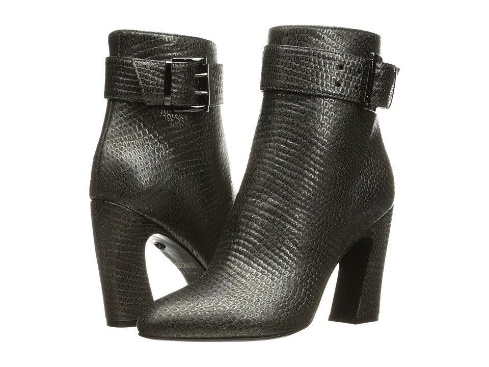 Just Cavalli Python Leather Ankle Boot (Gunmetal) Women