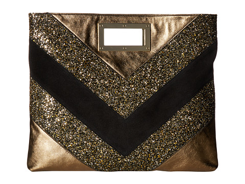 Just Cavalli Glitter and Laminated Leather Bag - Gold