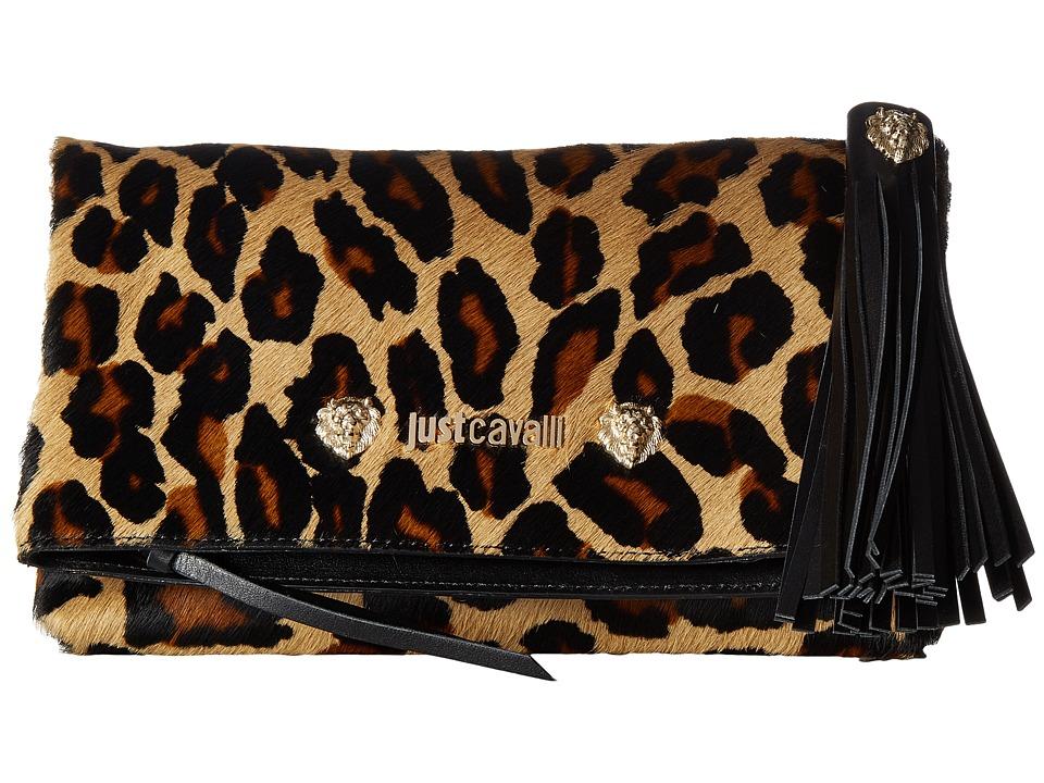 Just Cavalli Cheetah Clutch with Tassel (Brown) Clutch Ha...