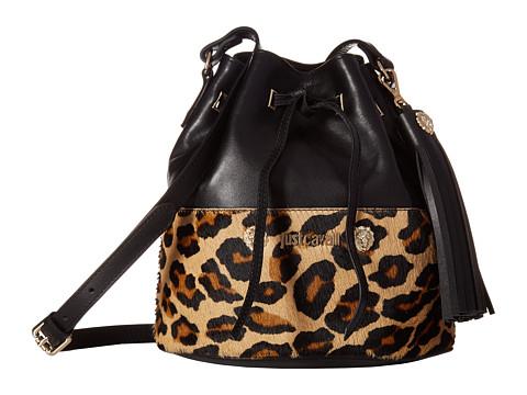 Just Cavalli Cheetah Bucket Bag with Tassel - Brown